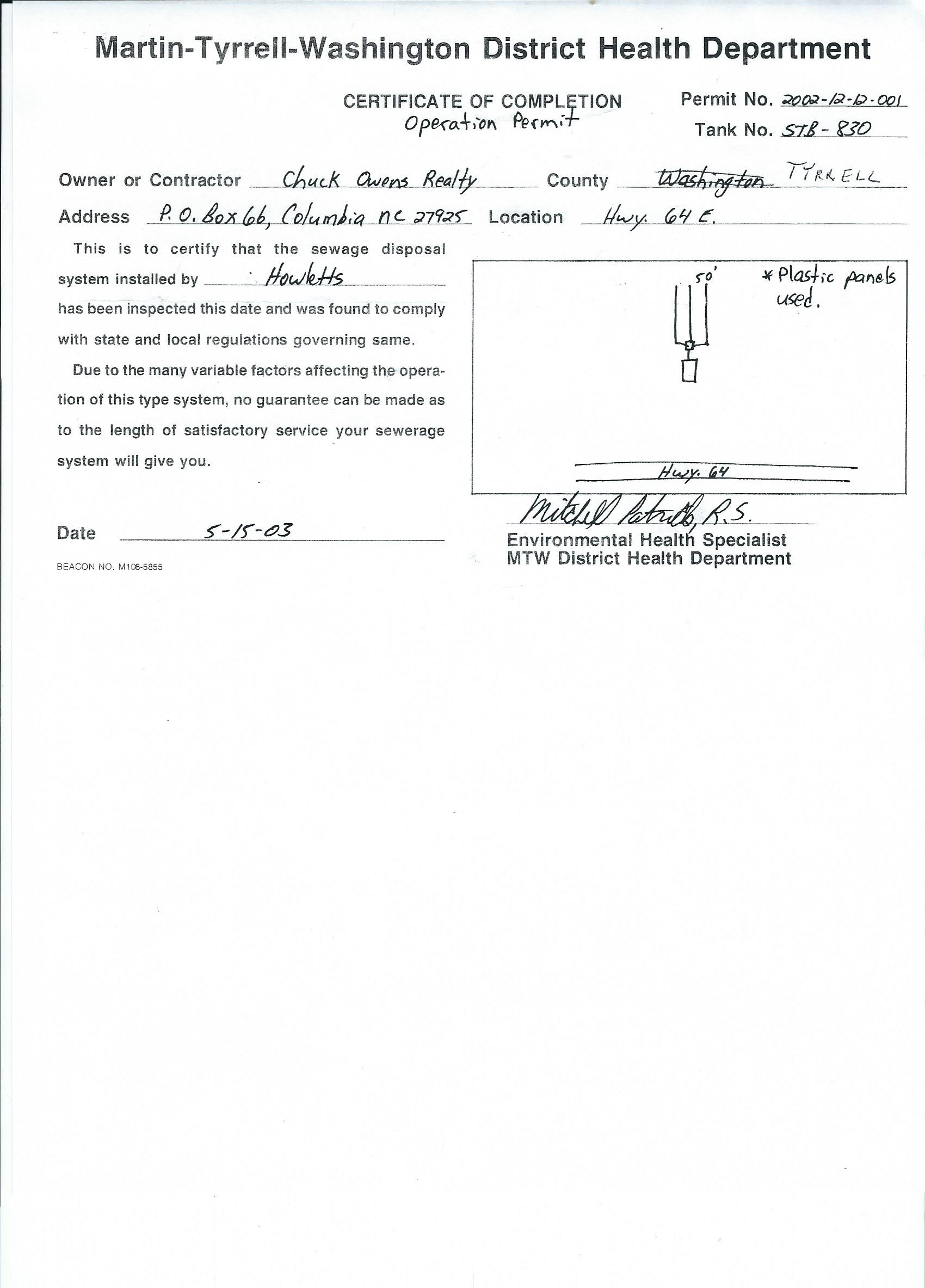 Septic System Operation Permit